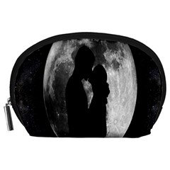 Silhouette Of Lovers Accessory Pouches (large)