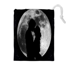 Silhouette Of Lovers Drawstring Pouches (extra Large)