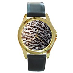 Seed Worn Lines Close Macro Round Gold Metal Watch