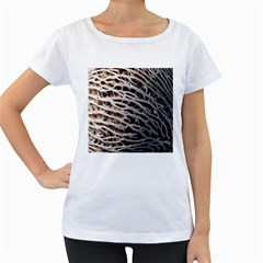 Seed Worn Lines Close Macro Women s Loose-Fit T-Shirt (White)