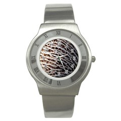 Seed Worn Lines Close Macro Stainless Steel Watch