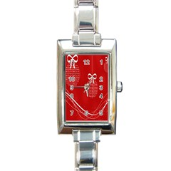 Simple Merry Christmas Rectangle Italian Charm Watch