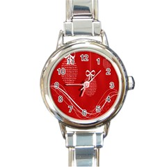 Simple Merry Christmas Round Italian Charm Watch