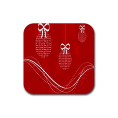 Simple Merry Christmas Rubber Coaster (Square)