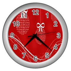 Simple Merry Christmas Wall Clocks (Silver)