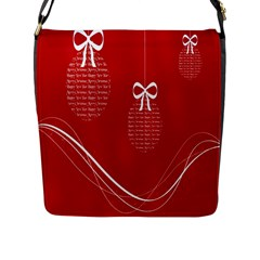 Simple Merry Christmas Flap Messenger Bag (L)