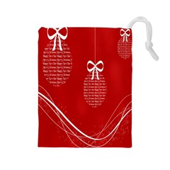 Simple Merry Christmas Drawstring Pouches (large)
