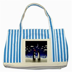 Small Gift For Xmas Christmas Striped Blue Tote Bag