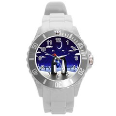 Small Gift For Xmas Christmas Round Plastic Sport Watch (l)