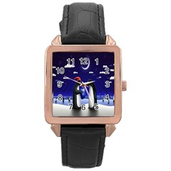 Small Gift For Xmas Christmas Rose Gold Leather Watch