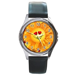 Smiley Joy Heart Love Smile Round Metal Watch