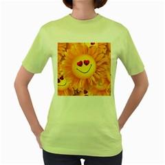 Smiley Joy Heart Love Smile Women s Green T Shirt