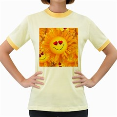 Smiley Joy Heart Love Smile Women s Fitted Ringer T-Shirts