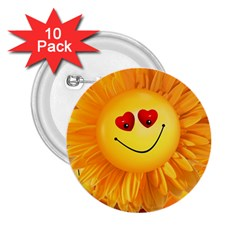 Smiley Joy Heart Love Smile 2.25  Buttons (10 pack)