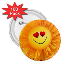 Smiley Joy Heart Love Smile 2.25  Buttons (100 pack)