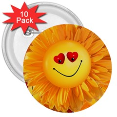 Smiley Joy Heart Love Smile 3  Buttons (10 Pack)