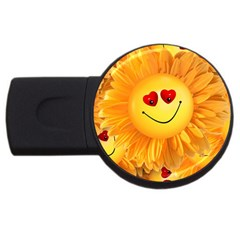 Smiley Joy Heart Love Smile USB Flash Drive Round (2 GB)