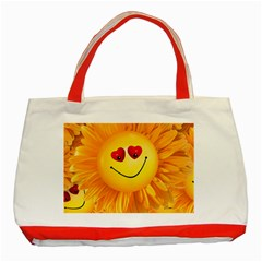 Smiley Joy Heart Love Smile Classic Tote Bag (red)