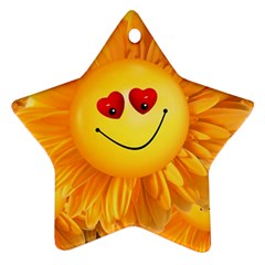 Smiley Joy Heart Love Smile Star Ornament (two Sides)