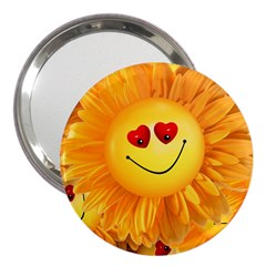 Smiley Joy Heart Love Smile 3  Handbag Mirrors