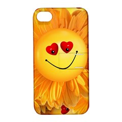 Smiley Joy Heart Love Smile Apple Iphone 4/4s Hardshell Case With Stand