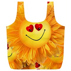Smiley Joy Heart Love Smile Full Print Recycle Bags (L)