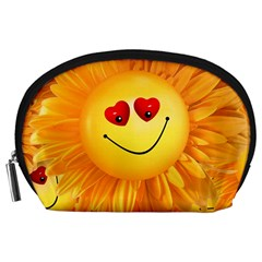 Smiley Joy Heart Love Smile Accessory Pouches (Large)