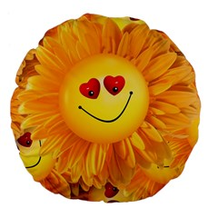 Smiley Joy Heart Love Smile Large 18  Premium Flano Round Cushions
