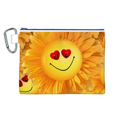 Smiley Joy Heart Love Smile Canvas Cosmetic Bag (l)