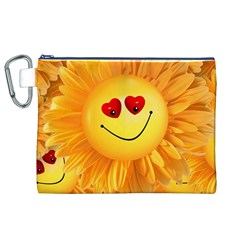 Smiley Joy Heart Love Smile Canvas Cosmetic Bag (XL)