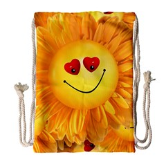 Smiley Joy Heart Love Smile Drawstring Bag (Large)