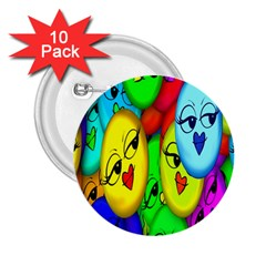 Smiley Girl Lesbian Community 2 25  Buttons (10 Pack)