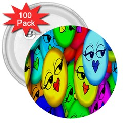 Smiley Girl Lesbian Community 3  Buttons (100 Pack)