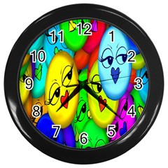 Smiley Girl Lesbian Community Wall Clocks (Black)