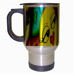 Smiley Girl Lesbian Community Travel Mug (Silver Gray)