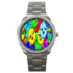 Smiley Girl Lesbian Community Sport Metal Watch
