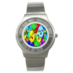 Smiley Girl Lesbian Community Stainless Steel Watch