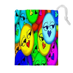 Smiley Girl Lesbian Community Drawstring Pouches (Extra Large)