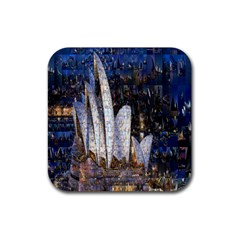Sidney Travel Wallpaper Rubber Square Coaster (4 Pack)
