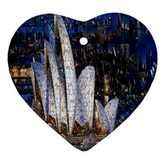 Sidney Travel Wallpaper Heart Ornament (two Sides)