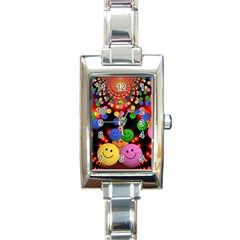 Smiley Laugh Funny Cheerful Rectangle Italian Charm Watch