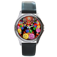 Smiley Laugh Funny Cheerful Round Metal Watch