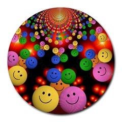 Smiley Laugh Funny Cheerful Round Mousepads