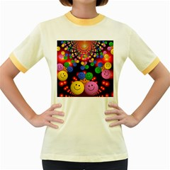 Smiley Laugh Funny Cheerful Women s Fitted Ringer T Shirts