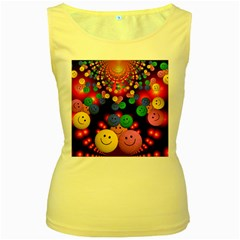 Smiley Laugh Funny Cheerful Women s Yellow Tank Top