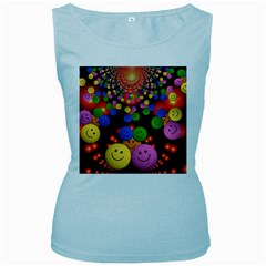 Smiley Laugh Funny Cheerful Women s Baby Blue Tank Top