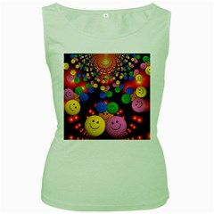 Smiley Laugh Funny Cheerful Women s Green Tank Top