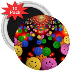 Smiley Laugh Funny Cheerful 3  Magnets (10 Pack)