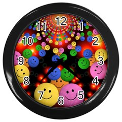 Smiley Laugh Funny Cheerful Wall Clocks (Black)