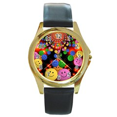 Smiley Laugh Funny Cheerful Round Gold Metal Watch